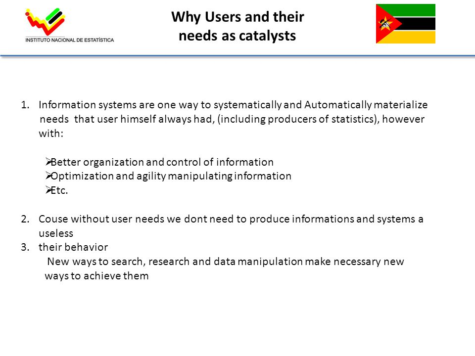 Why Users and their needs as catalysts 1.Information systems are one way to systematically and Automatically materialize needs that user himself always had, (including producers of statistics), however with:  Better organization and control of information  Optimization and agility manipulating information  Etc.