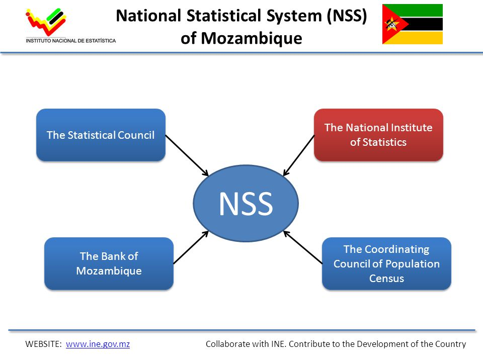 National Statistical System (NSS) of Mozambique NSS The Statistical Council The Bank of Mozambique The National Institute of Statistics The Coordinati