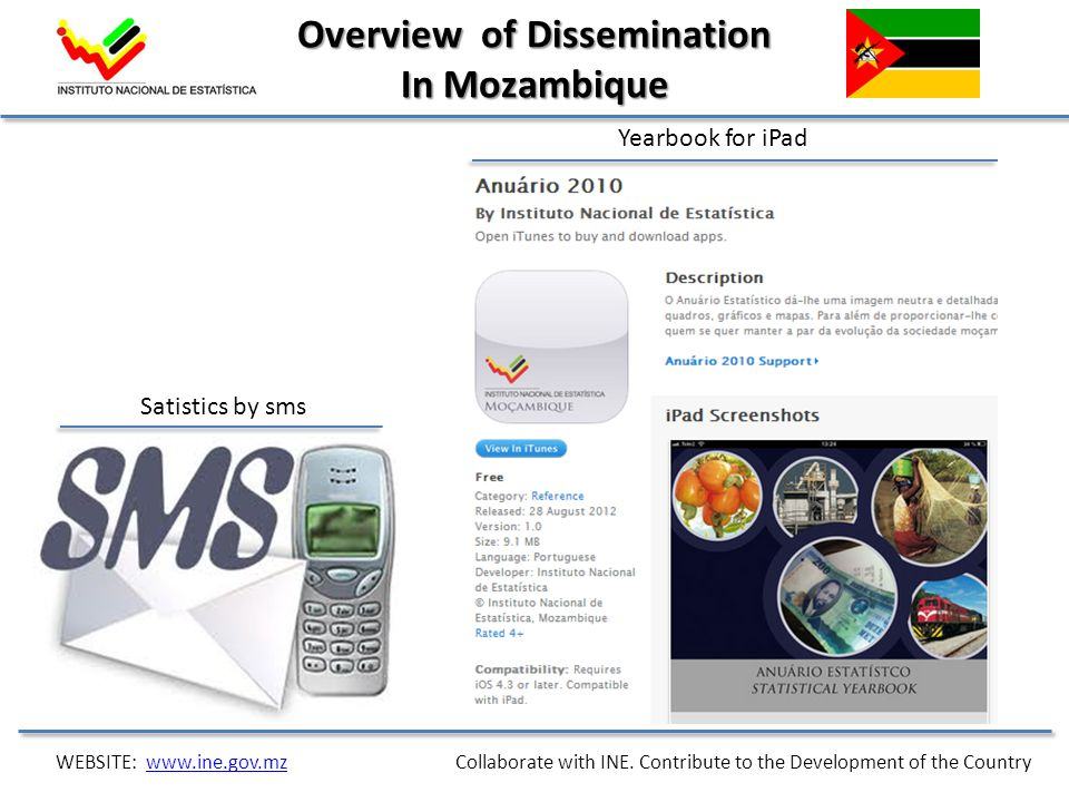 Satistics by sms Yearbook for iPad Overview of Dissemination In Mozambique WEBSITE: www.ine.gov.mz Collaborate with INE. Contribute to the Development