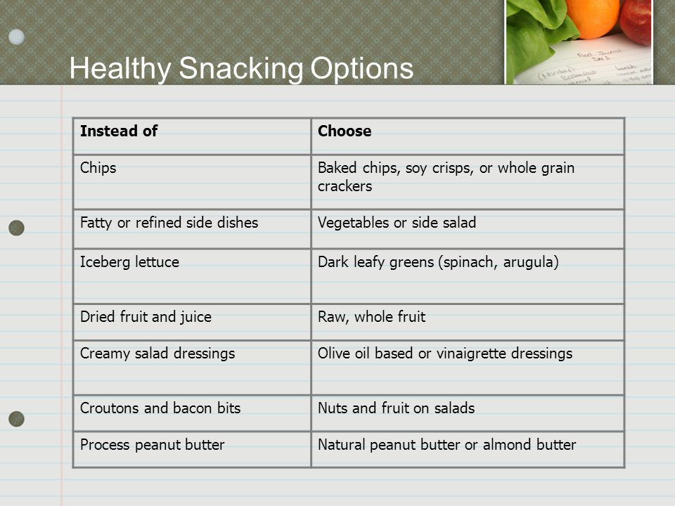Instead ofChoose ChipsBaked chips, soy crisps, or whole grain crackers Fatty or refined side dishesVegetables or side salad Iceberg lettuceDark leafy greens (spinach, arugula) Dried fruit and juiceRaw, whole fruit Creamy salad dressingsOlive oil based or vinaigrette dressings Croutons and bacon bitsNuts and fruit on salads Process peanut butterNatural peanut butter or almond butter