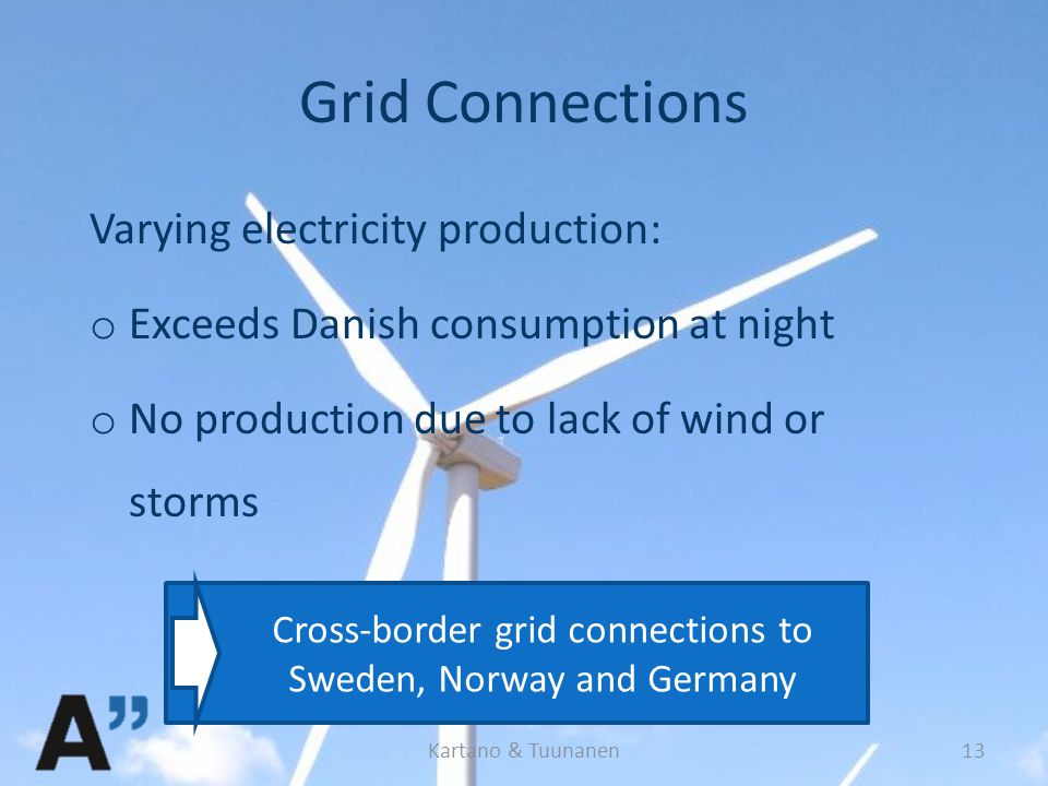 Grid Connections Varying electricity production: o Exceeds Danish consumption at night o No production due to lack of wind or storms Kartano & Tuunanen13 Cross-border grid connections to Sweden, Norway and Germany