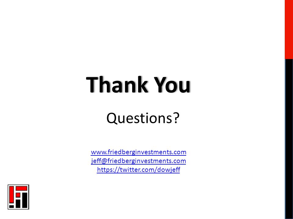 Questions? Thank YouThank You www.friedberginvestments.com jeff@friedberginvestments.com https://twitter.com/dowjeff