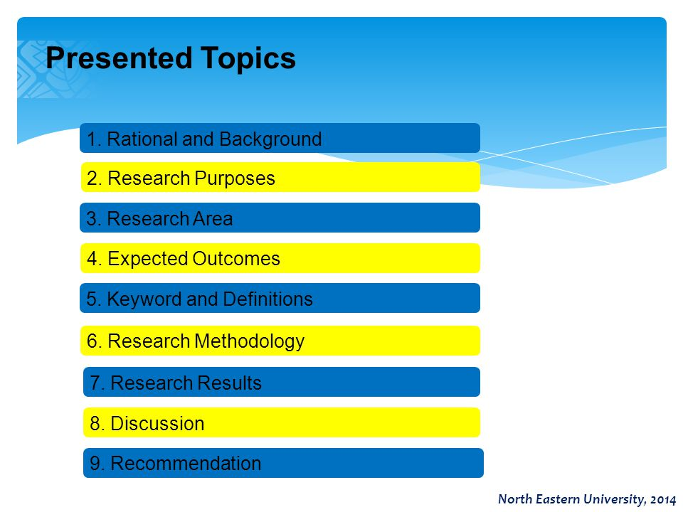 Presented Topics North Eastern University, 2014 1. Rational and Background 6. Research Methodology 5. Keyword and Definitions 2. Research Purposes 3.
