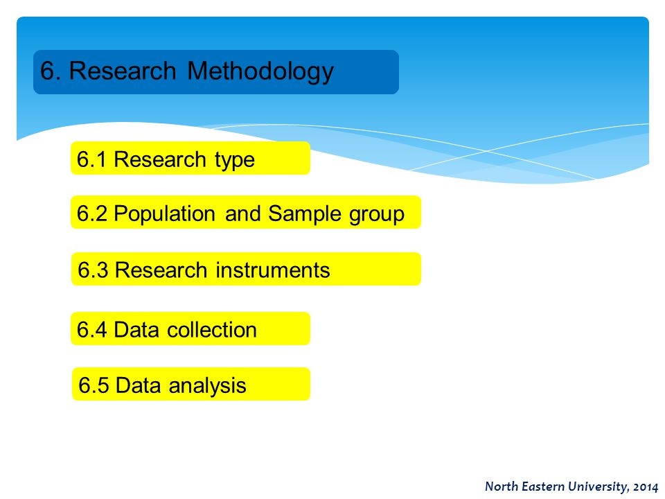 6. Research Methodology 6.1 Research type 6.2 Population and Sample group 6.3 Research instruments 6.4 Data collection 6.5 Data analysis North Eastern