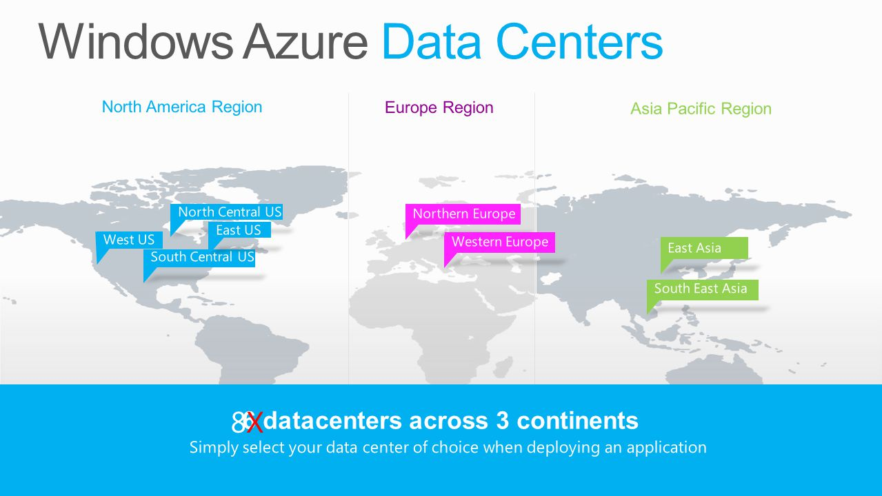 North America Region Europe Region Asia Pacific Region 6 datacenters across 3 continents Simply select your data center of choice when deploying an application West US 8X8X