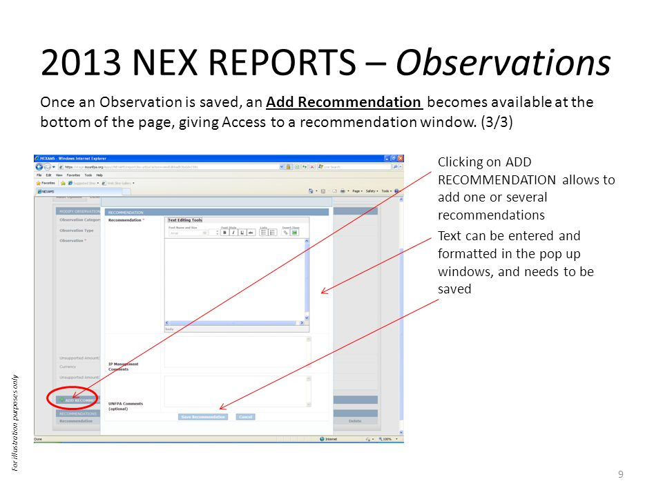 2013 NEX REPORTS – Observations Once an Observation is saved, an Add Recommendation becomes available at the bottom of the page, giving Access to a recommendation window.
