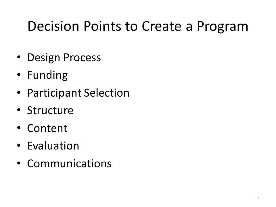Decision Points to Create a Program Design Process Funding Participant Selection Structure Content Evaluation Communications 5