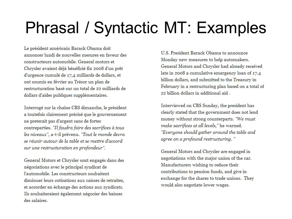 Phrasal / Syntactic MT: Examples