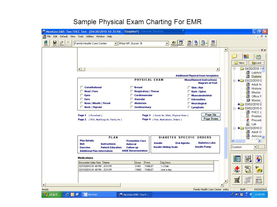 Sample Physical Exam Charting For EMR