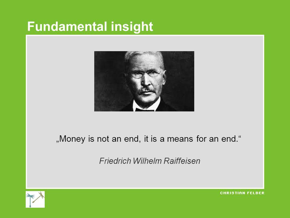 """Money is not an end, it is a means for an end. Friedrich Wilhelm Raiffeisen Fundamental insight"