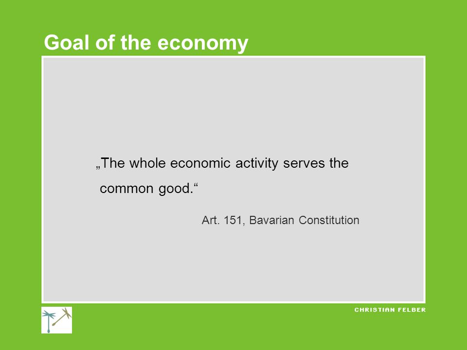 """The whole economic activity serves the common good. Art."