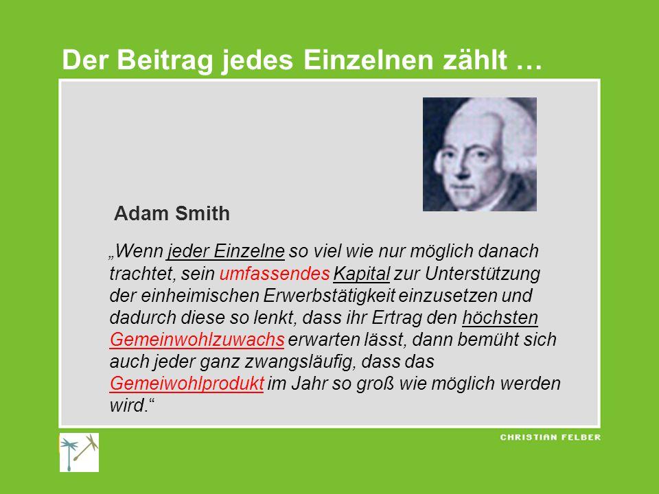 """Adam Smith """"Wenn jeder Einzelne so viel wie nur möglich danach trachtet, sein umfassendes Kapital zur Unterstützung der einheimischen Erwerbstätigkeit einzusetzen und dadurch diese so lenkt, dass ihr Ertrag den höchsten Gemeinwohlzuwachs erwarten lässt, dann bemüht sich auch jeder ganz zwangsläufig, dass das Gemeiwohlprodukt im Jahr so groß wie möglich werden wird. Der Beitrag jedes Einzelnen zählt …"""