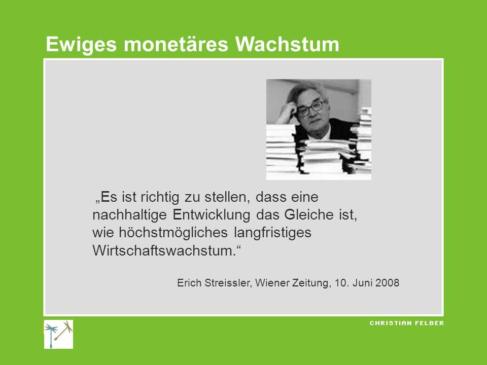 """""""Es ist richtig zu stellen, dass eine nachhaltige Entwicklung das Gleiche ist, wie höchstmögliches langfristiges Wirtschaftswachstum. Erich Streissler, Wiener Zeitung, 10."""