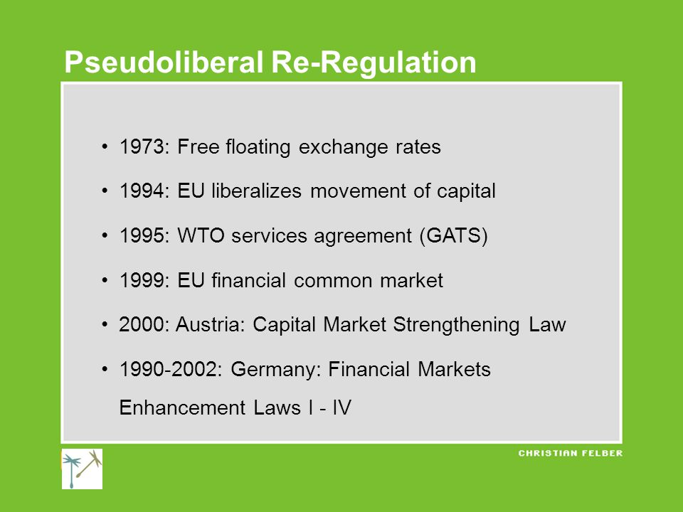 1973: Free floating exchange rates 1994: EU liberalizes movement of capital 1995: WTO services agreement (GATS) 1999: EU financial common market 2000: Austria: Capital Market Strengthening Law 1990-2002: Germany: Financial Markets Enhancement Laws I - IV Pseudoliberal Re-Regulation