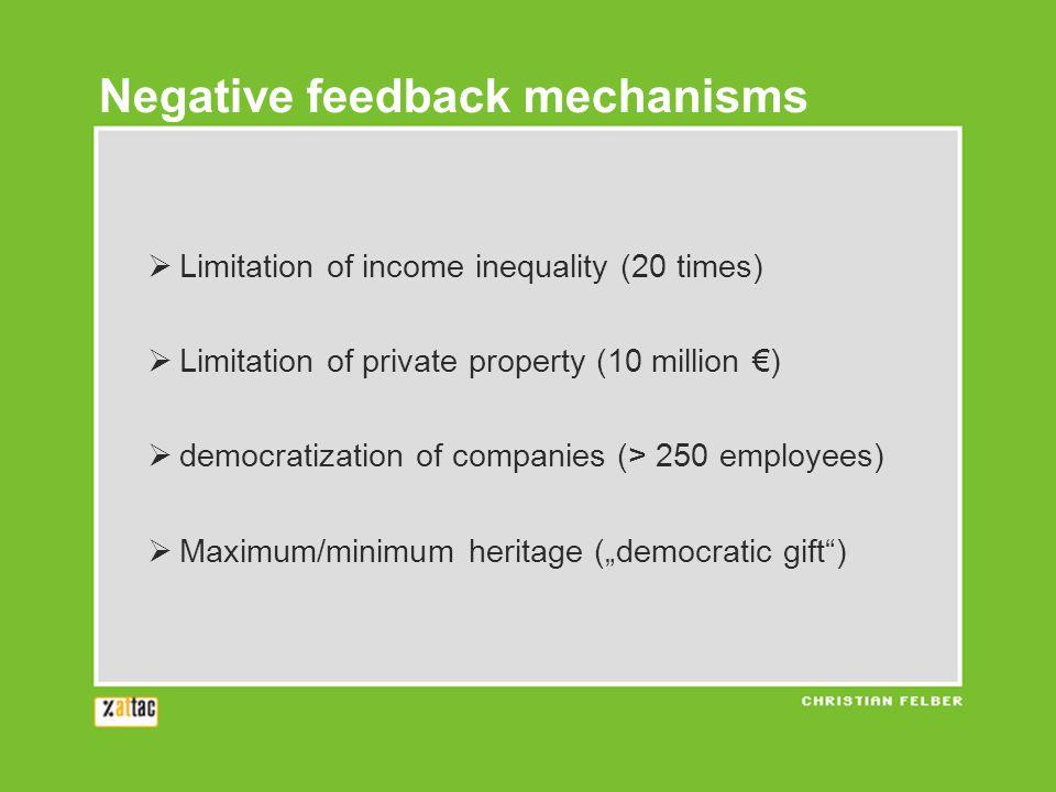" Limitation of income inequality (20 times)  Limitation of private property (10 million €)  democratization of companies (> 250 employees)  Maximum/minimum heritage (""democratic gift ) Negative feedback mechanisms"