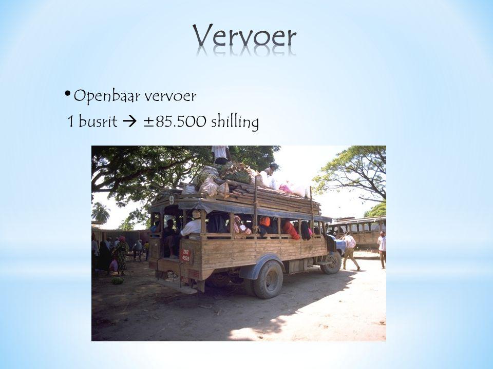Openbaar vervoer 1 busrit  ±85.500 shilling