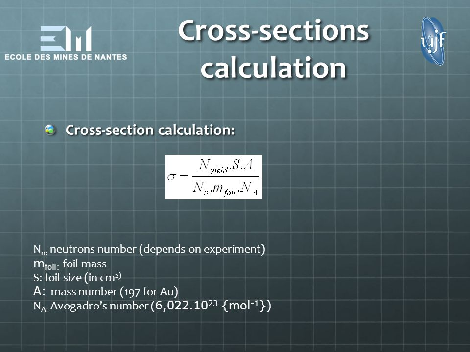 Cross-sections calculation Cross-section calculation: N n: neutrons number (depends on experiment) m foil: foil mass S: foil size (in cm 2) A: mass nu