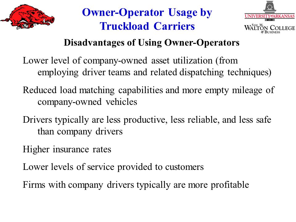 Owner-Operator Usage by Truckload Carriers Percentage Year 1988 35 30 25 20 15 10 5 19921994199619982000 1990 Percentage Use of O-O: 1989-1997