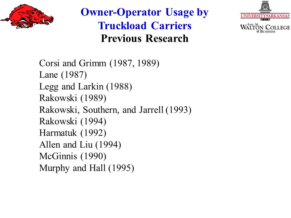 Owner-Operator Usage by Truckload Carriers Corsi and Grimm (1987, 1989) Lane (1987) Legg and Larkin (1988) Rakowski (1989) Rakowski, Southern, and Jarrell (1993) Rakowski (1994) Harmatuk (1992) Allen and Liu (1994) McGinnis (1990) Murphy and Hall (1995) Previous Research