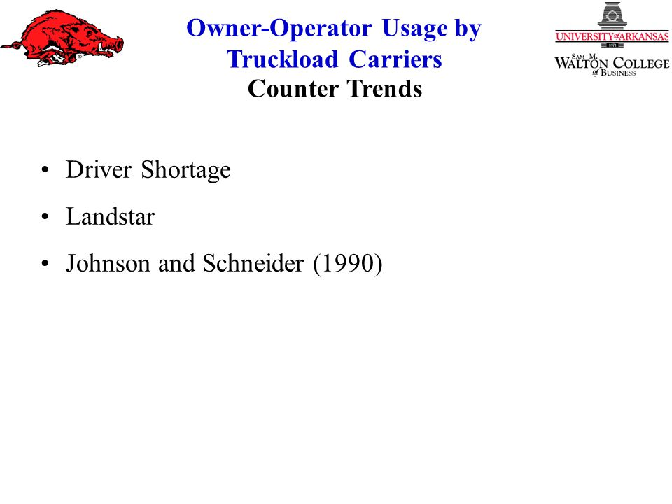 Owner-Operator Usage by Truckload Carriers Hypotheses Data Set Analytical Procedure Methodology