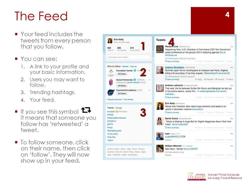 The Feed  Your feed includes the tweets from every person that you follow.