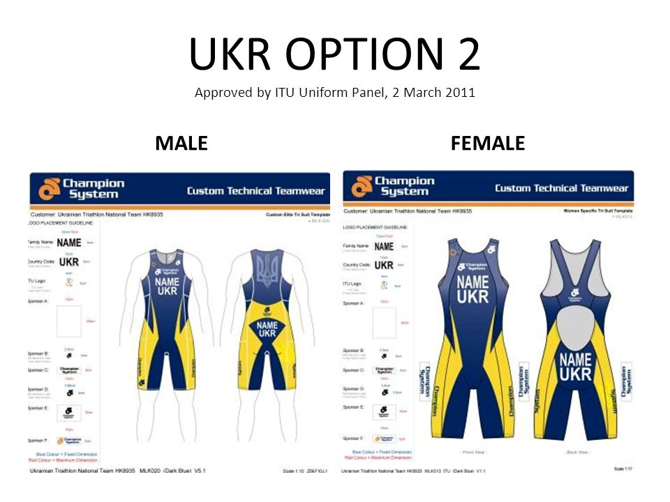 UKR OPTION 2 Approved by ITU Uniform Panel, 2 March 2011 MALEFEMALE