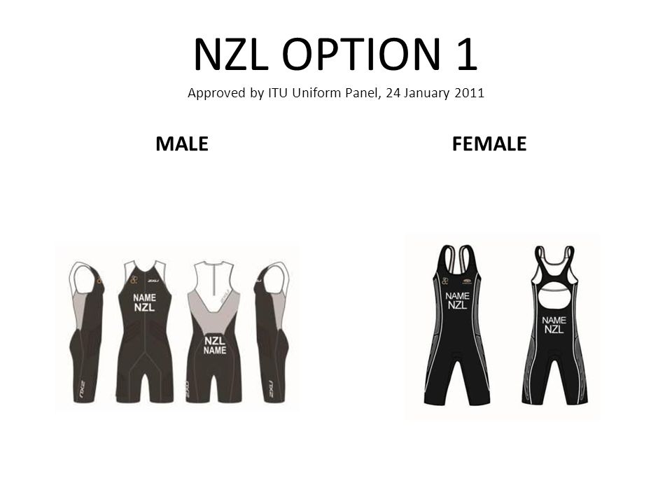 NZL OPTION 1 Approved by ITU Uniform Panel, 24 January 2011 MALEFEMALE