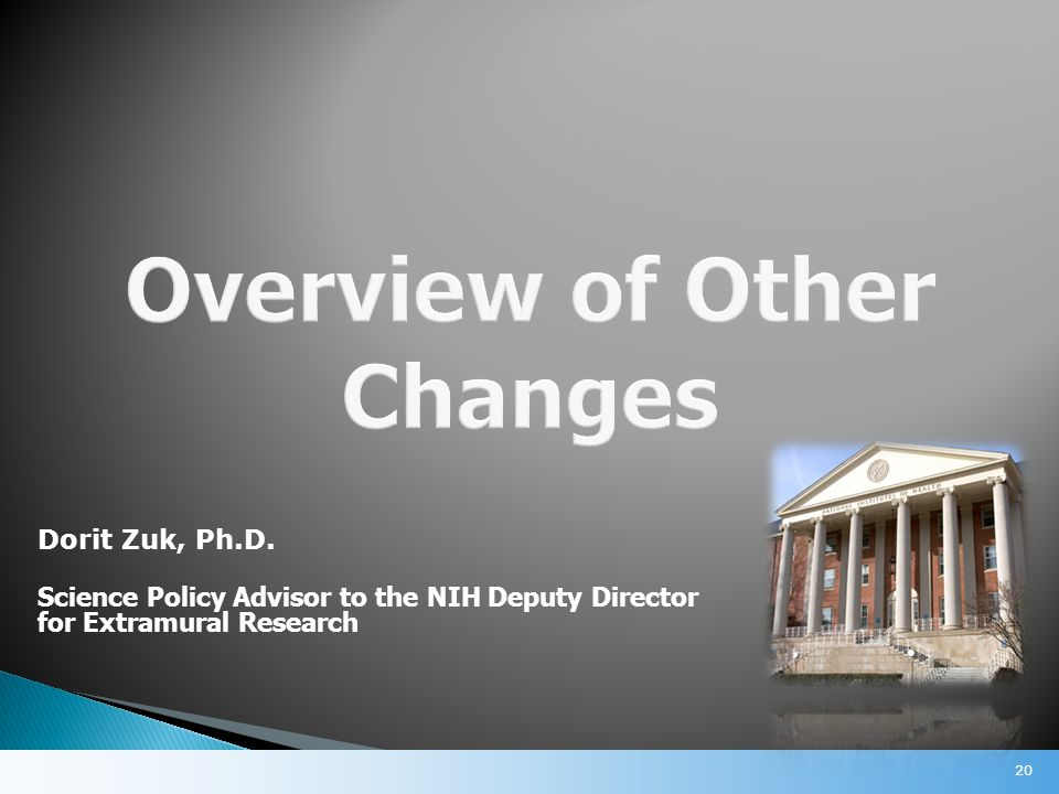 20 Dorit Zuk, Ph.D. Science Policy Advisor to the NIH Deputy Director for Extramural Research