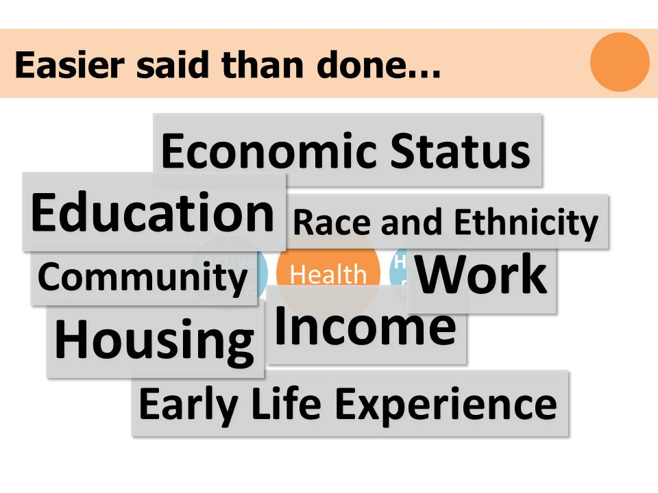 Early Life Experience Physical Inactivity Easier said than done… Health Active Living Healthy Eating Income Work Housing Community Race and Ethnicity