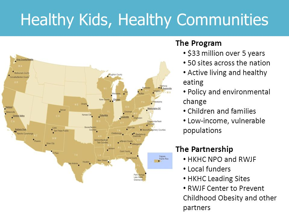 Healthy Kids, Healthy Communities The Program $33 million over 5 years 50 sites across the nation Active living and healthy eating Policy and environmental change Children and families Low-income, vulnerable populations The Partnership HKHC NPO and RWJF Local funders HKHC Leading Sites RWJF Center to Prevent Childhood Obesity and other partners