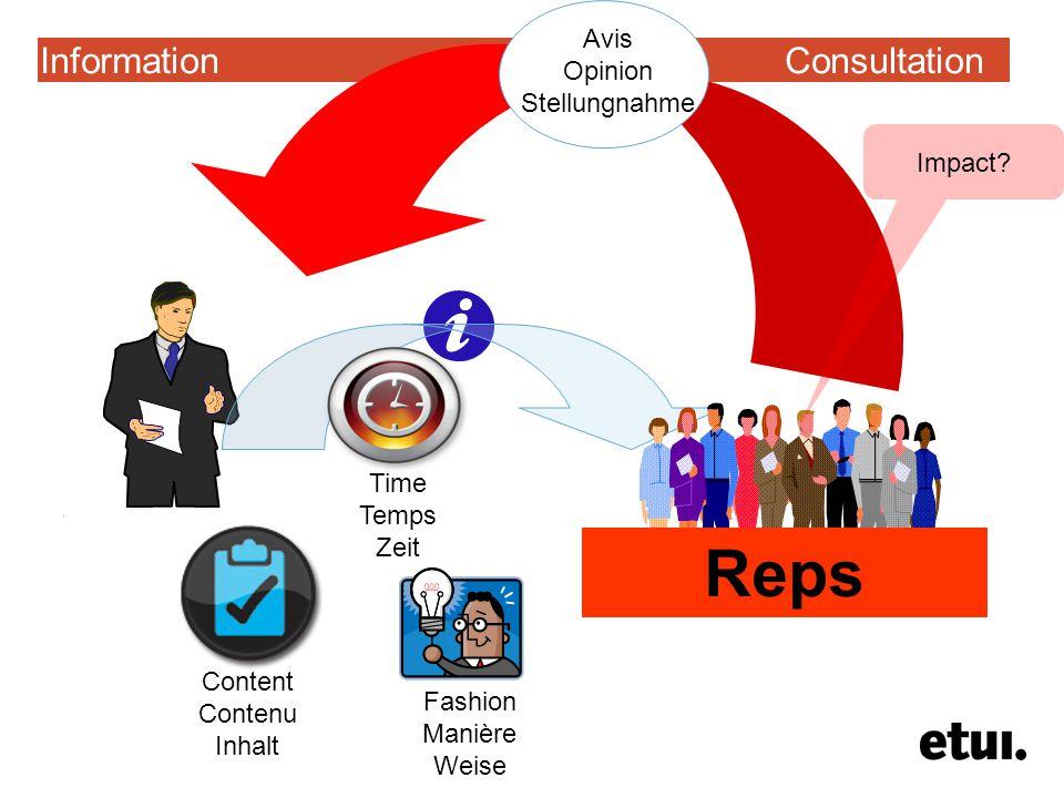 Information Consultation Reps Time Temps Zeit Content Contenu Inhalt Fashion Manière Weise Avis Opinion Stellungnahme Impact