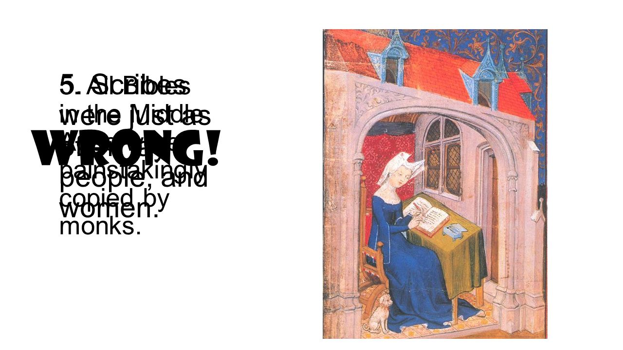 5. All Bibles in the Middle Ages were painstakingly copied by monks.