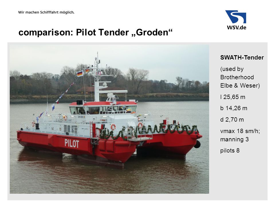 "comparison: Pilot Tender ""Groden SWATH-Tender (used by Brotherhood Elbe & Weser) l 25,65 m b 14,26 m d 2,70 m vmax 18 sm/h; manning 3 pilots 8"