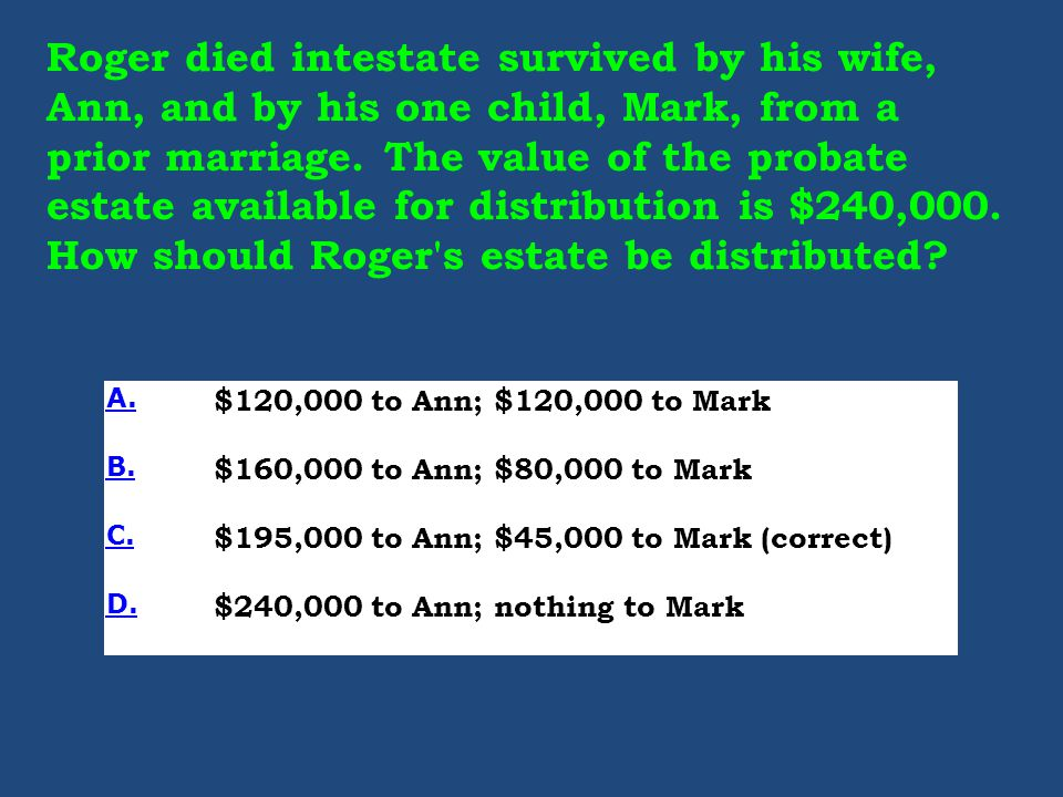 Roger died intestate survived by his wife, Ann, and by his one child, Mark, from a prior marriage.