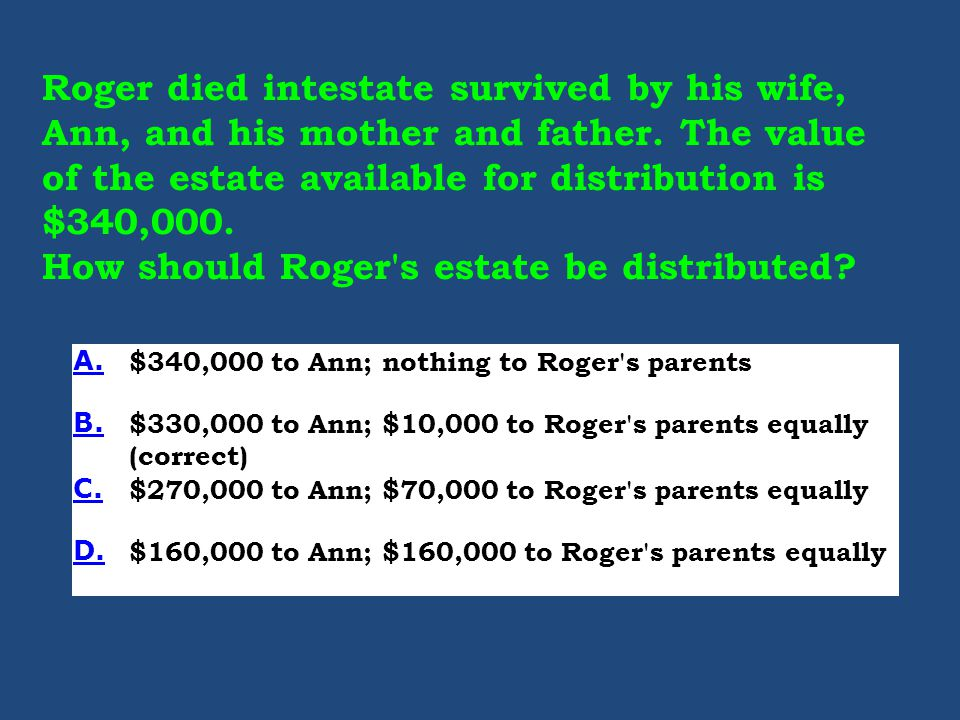 Roger died intestate survived by his wife, Ann, and his mother and father.