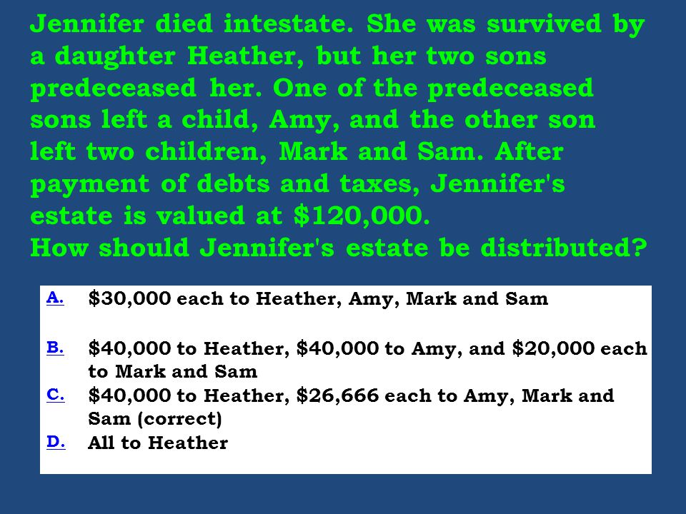 Jennifer died intestate. She was survived by a daughter Heather, but her two sons predeceased her.