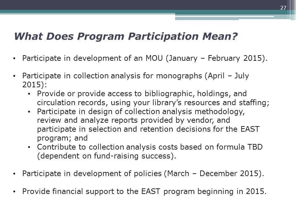What Does Program Participation Mean.