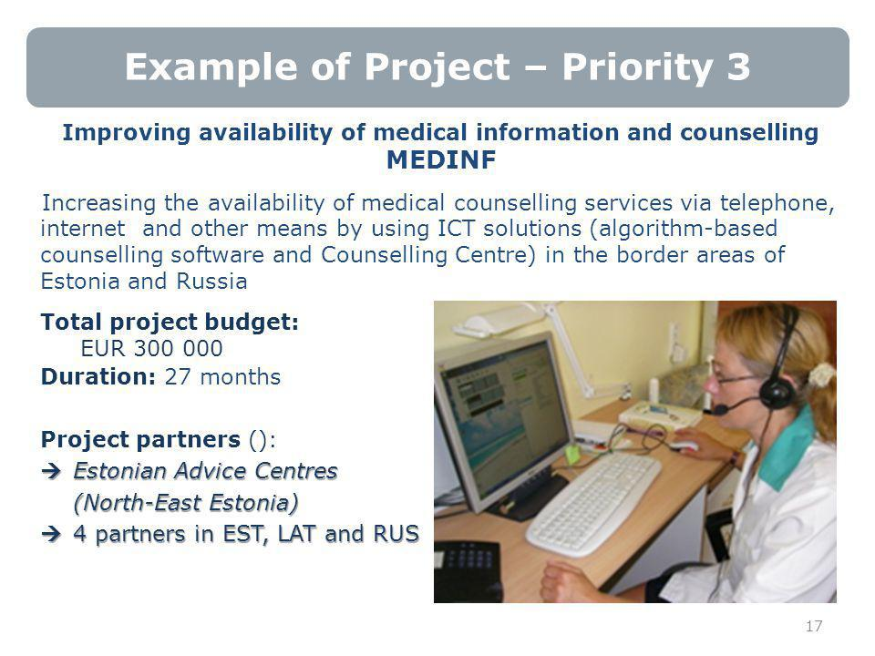 Example of Project – Priority 3 Improving availability of medical information and counselling MEDINF Increasing the availability of medical counselling services via telephone, internet and other means by using ICT solutions (algorithm-based counselling software and Counselling Centre) in the border areas of Estonia and Russia Total project budget: EUR 300 000 Duration: 27 months Project partners ():  Estonian Advice Centres (North-East Estonia)  4 partners in EST, LAT and RUS 17