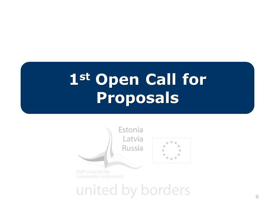 6 1 st Open Call for Proposals