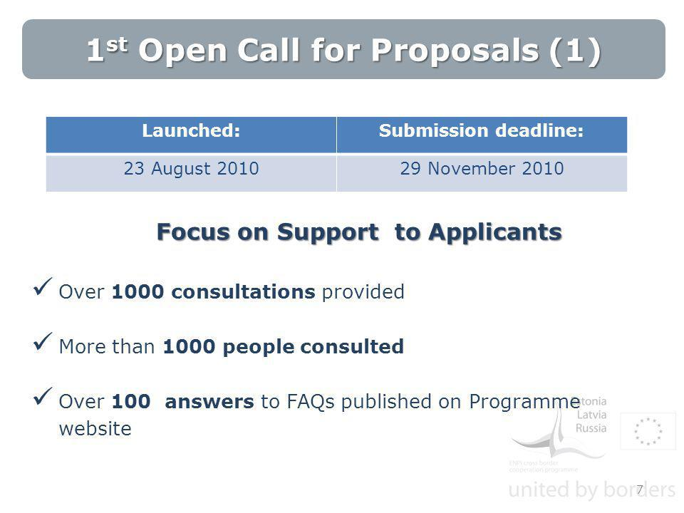Focus on Support to Applicants Over 1000 consultations provided More than 1000 people consulted Over 100 answers to FAQs published on Programme website 7 1 st Open Call for Proposals (1) Launched:Submission deadline: 23 August 201029 November 2010