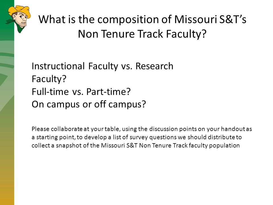 What is the composition of Missouri S&T's Non Tenure Track Faculty.