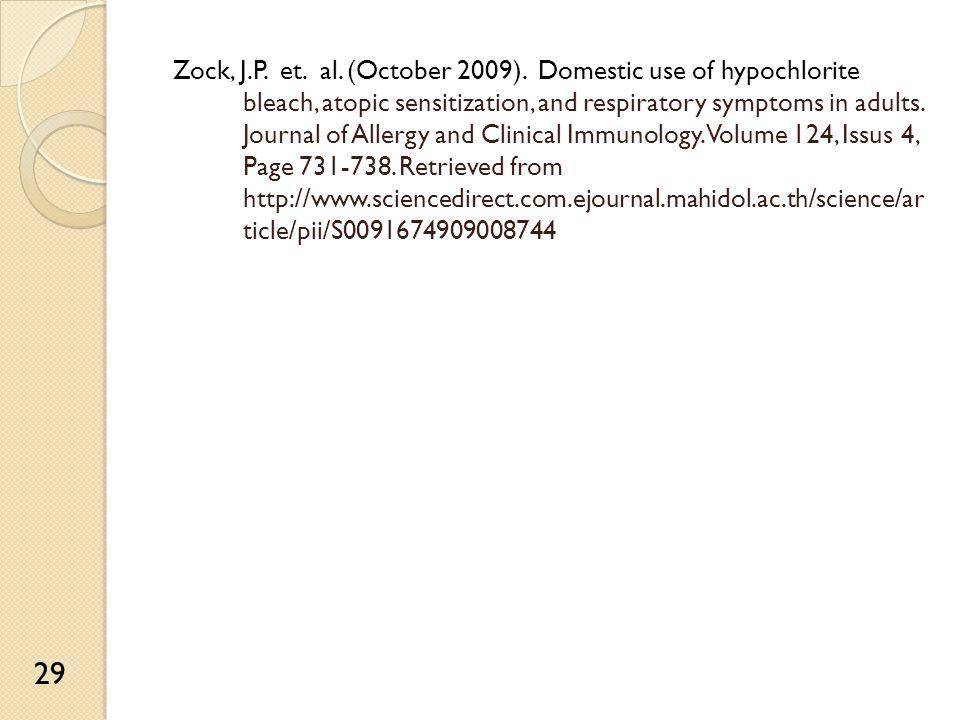 Zock, J.P. et. al. (October 2009).