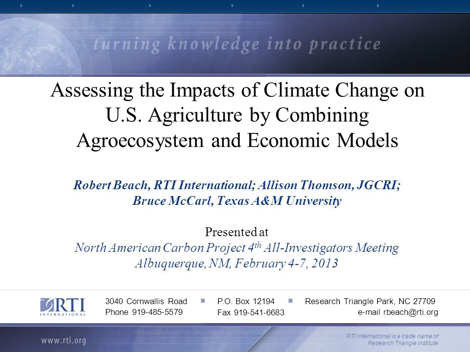 Introduction Agricultural production is inherently risky, dependent upon weather and other factors Climate change may lead to more rapid changes in mean yields as well as yield and price variability than in the past, making adjustment more difficult Extreme events Historical experience less informative Faster depreciation of research/knowledge stock Complex set of interactions between impacts with heterogeneity across time and space Need for detailed characterization of potential effects on yields for future scenarios as inputs for decision support tools 2