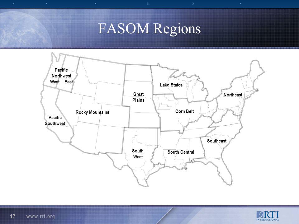 17 FASOM Regions