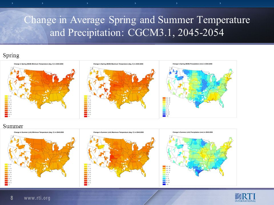 Change in Average Spring and Summer Temperature and Precipitation: MRI-CGCM2.2, 2045-2054 9 Summer Spring
