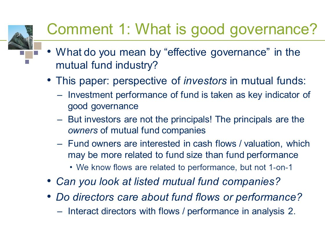 Comment 1: What is good governance.