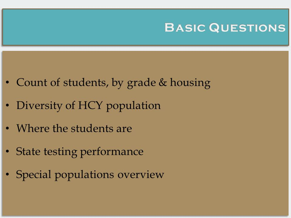 Count of students, by grade & housing Diversity of HCY population Where the students are State testing performance Special populations overview Count of students, by grade & housing Diversity of HCY population Where the students are State testing performance Special populations overview