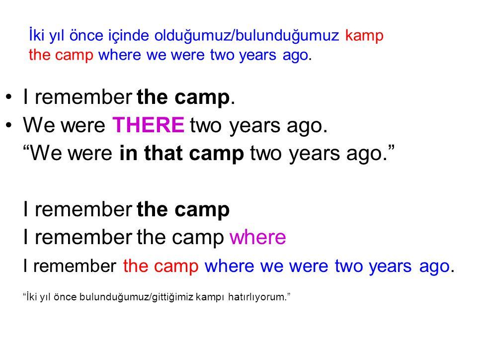 İki yıl önce içinde olduğumuz/bulunduğumuz kamp the camp where we were two years ago.