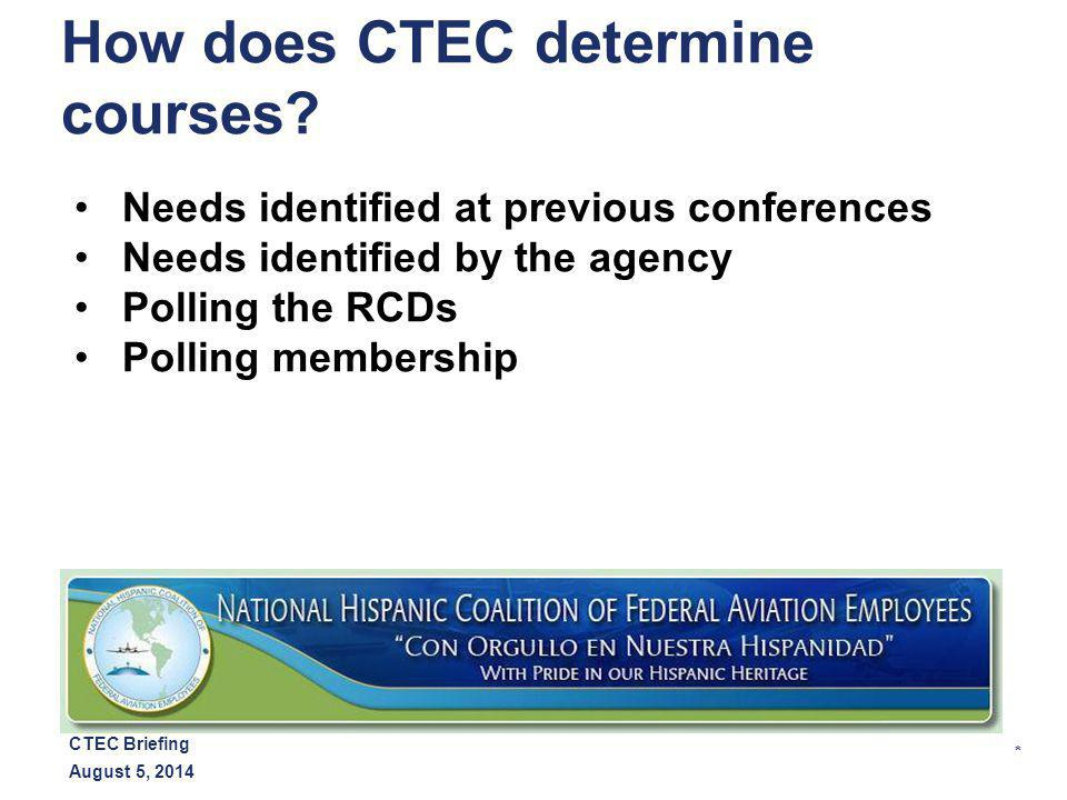 * August 5, 2014 CTEC Briefing How does CTEC determine courses.