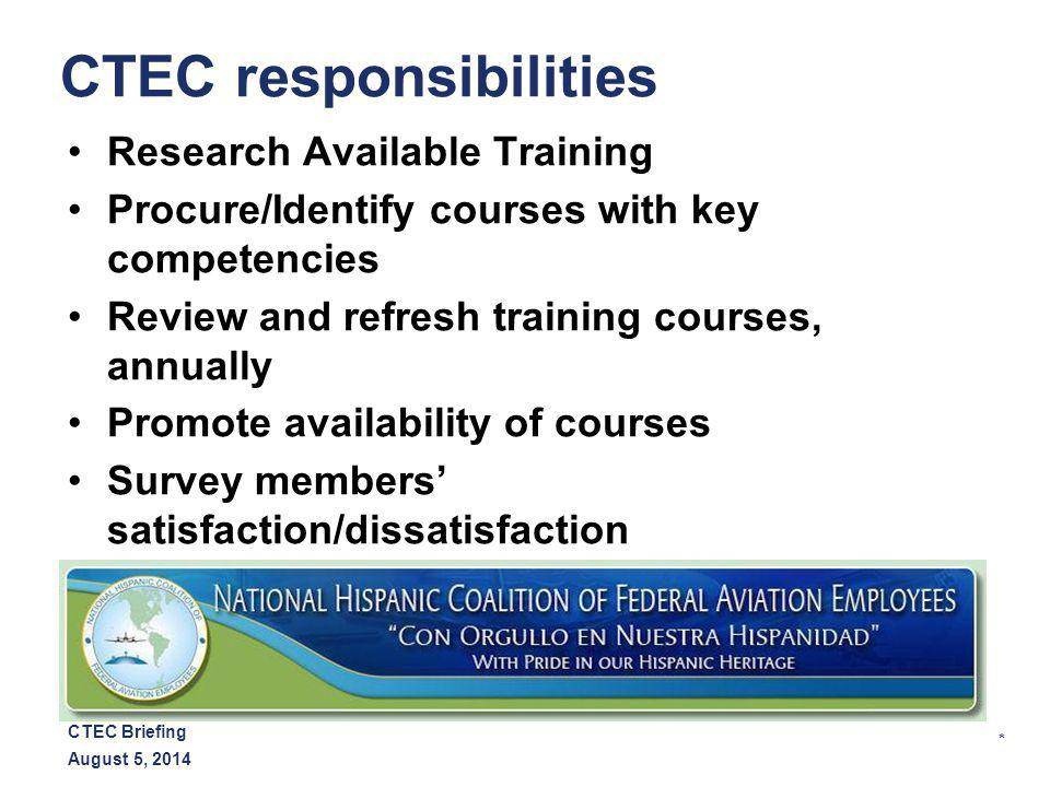* August 5, 2014 CTEC Briefing CTEC responsibilities Research Available Training Procure/Identify courses with key competencies Review and refresh training courses, annually Promote availability of courses Survey members' satisfaction/dissatisfaction
